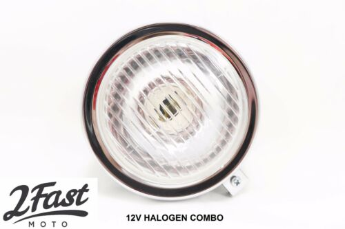 "2FastMoto 5/"" Black Guia Headlight 12v Dual Filament Halogen Puch Garelli Moped"