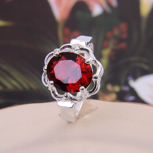 925 Silver Filled Stamped Galaxy Round Fire Opal Gemstone Ring Propose Wedding