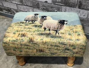 NEW-SHEEP-PRINTED-LINEN-FOOTSTOOL-COUNTRYSIDE-FARMHOUSE-RUSTIC-STOOL