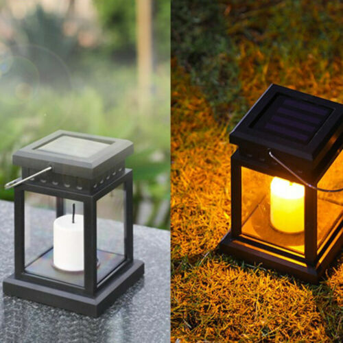1//2xSolar Laterne mit LED Kerze für Außen Garten Flackereffekt Solar Hängelampe