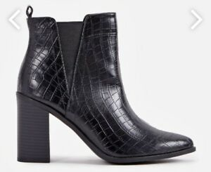 9480676252a Women s Ladies Ankle Boots Booties Shoes Black Croc Size 8 By ...