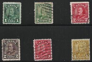 Canada-Scott-163-68-Singles-1930-31-FVF-Used