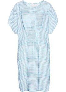Kleid Gr. 52 Aqua Weiß Gestreift Damenkleid Minikleid ...