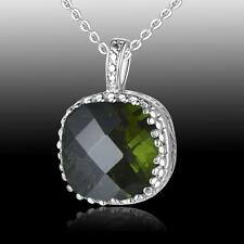 Luxury Huge Square Blue Sapphire Quartz, Topaz, Peridot 925 Silver Pendant