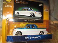 DUB CITY  FORD F 150 CUSTOM PICKUP mags  jada 1/64 8+ BLUE & WHITE LOW RIDER