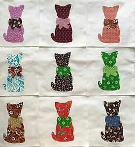 Calico-Cat-with-Bow-Quilt-Top-6-034-Blocks-Cotton-Fabric-Appliques-Lot-of-9