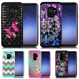 For Samsung Galaxy S9+ Plus / S9 Dual Layer Hard Phone Case Cover Diamond Bling