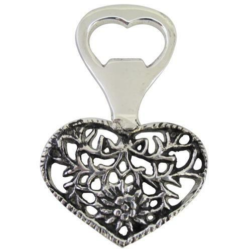 Heart Design Antique Look Metal Bottle Opener