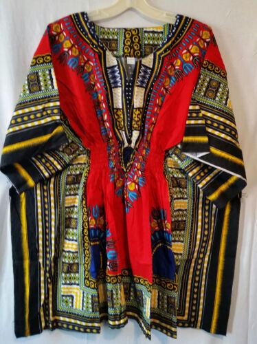 Woman African Dashiki Print Poncho Top Shirt Elastic Waist Short Dress One Size