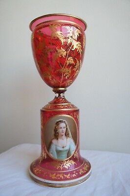 Glass Decorative Arts French 19th Century Overlay Cranberry Glass Flower Vase