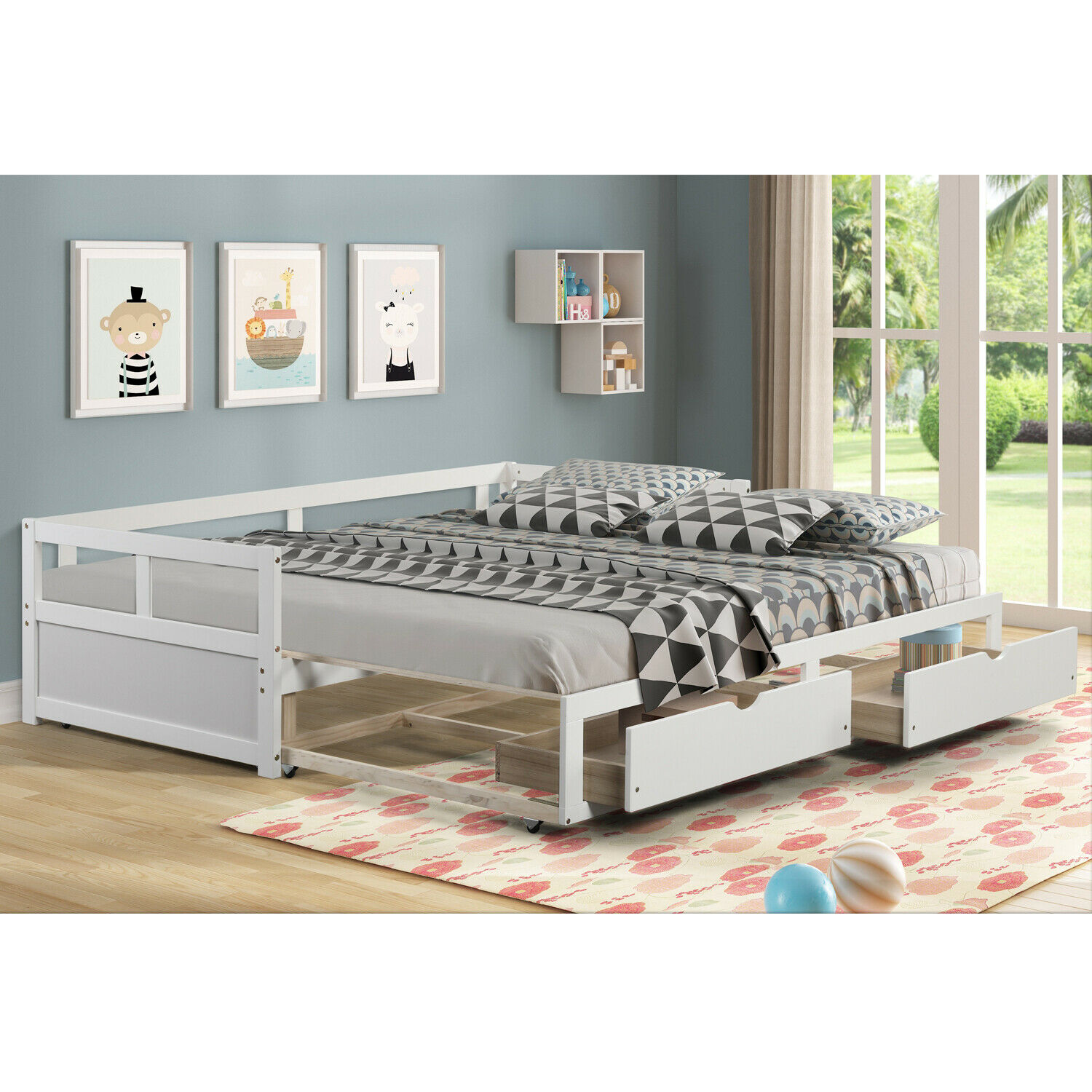 Ikea White Full Bed With Storage And With Mattress For Sale Online Ebay,2 Kids Bedroom Ideas For Small Rooms
