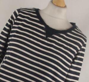 H-amp-M-Blue-Striped-Cotton-Womens-Basic-Tee-Size-M-Regular