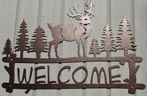 Deer and Trees Welcome Sign Metal Wall Art Home Decor Copper Vein
