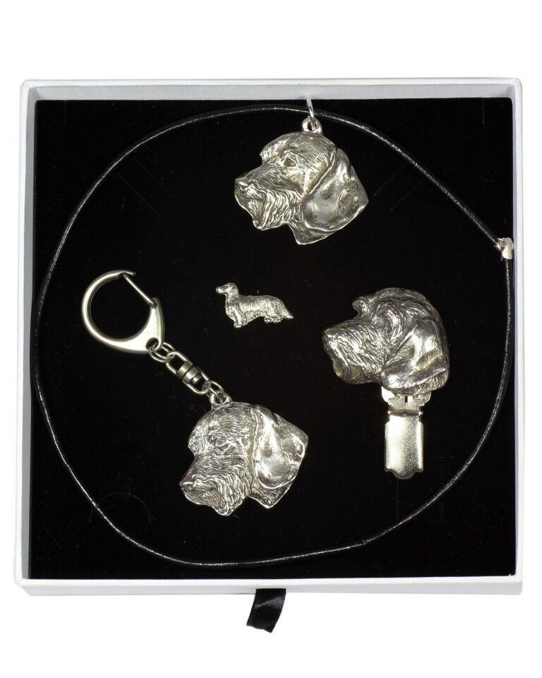 Dachshund - keyring, pendant, pin, clipring set with dog, Art Dog type 2