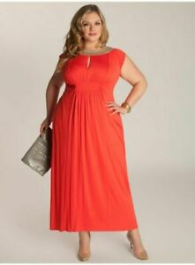 Details about Igigi Womens Dress 14 16 1X Plus Size Coral Maxi Golda Style  Full Length USA