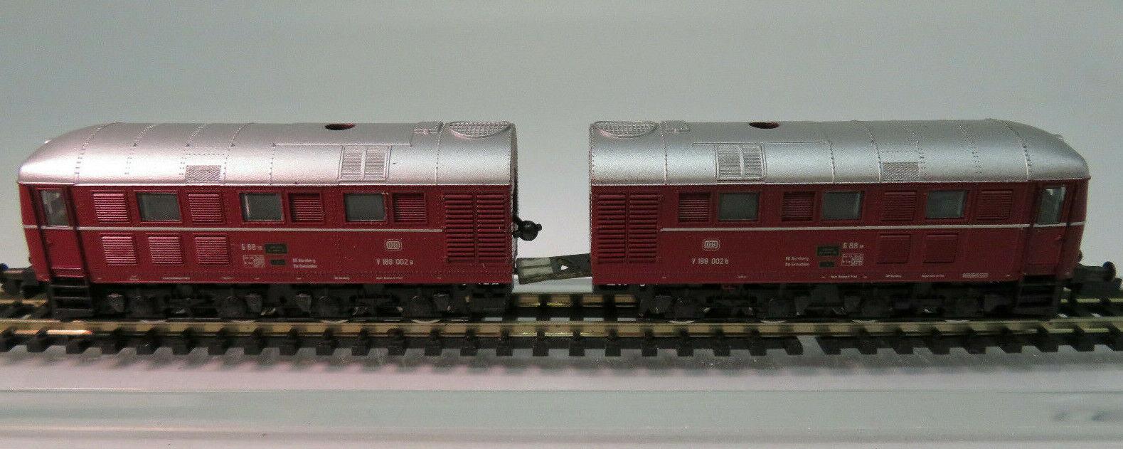 Roco 23436 n diesellok doppellok br v188 002 de la DB rojo oscuro como nuevo