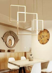 Details About Modern Square Aluminum Led Hanging Pendant Chandelier Light Acrylic Dining Room