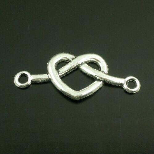 50pcs Vintage aleación de plata corazón encantos Conector Collar enlace encontrar 38645