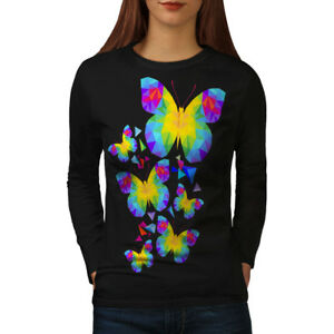 c4a5b88a Image is loading Polygonal-Butterfly-Women-Long-Sleeve-T-shirt-NEW-