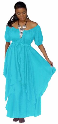 LotusTraders U2570 Plus Peasant Renaissance Empire Waist Boho Maxi Dress