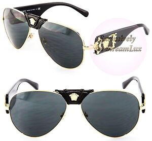 704ec2639f VERSACE Aviator Gold Black Sunglasses VE 2150-Q 1002 87 by LADY GAGA ...