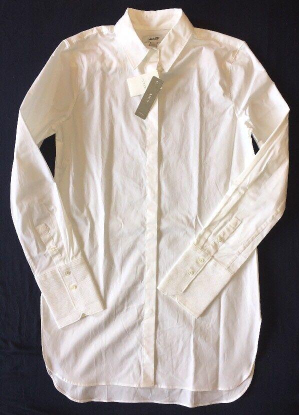 J Crew 0 Endless Tunic Top Shirt NWT  a9932 White Stretch Cotton NEW
