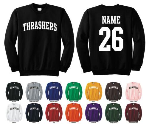 Thrashers Adult Crewneck Sweatshirt Personalized Custom Name /& Number