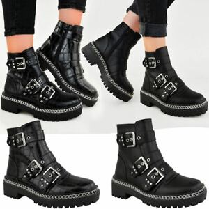 New Womens Low Heel Chunky Ankle Boots