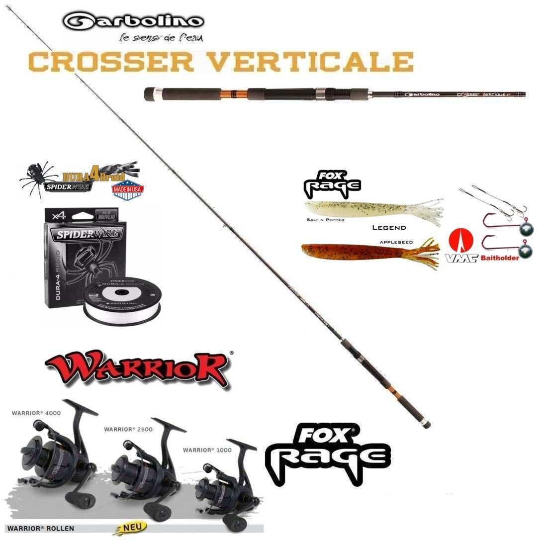 vertical-Complet-Set GARBOLINO perche + Fox Reel 1000 avec ficelle et Appât