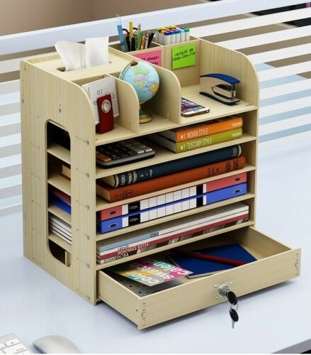 DIY Wood Desk Organizers with Drawer/&Lock Office Pen Pencils Holders Storage Box