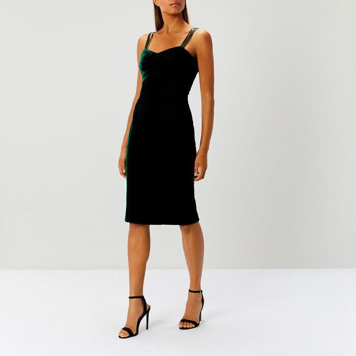 Coast Scarlett Forest Grün Velvet Shift Kleid Größe UK 16