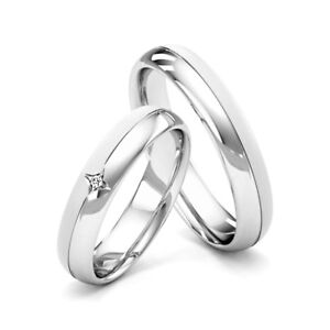 White Gold Wedding Band.Details About Matching Couple Wedding Rings His And Hers Diamond Set Bands White Gold Hallmark