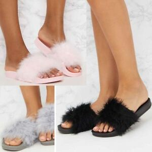 1d1b5e8f6017 Image is loading Womens-Fluffy-Feather-Faux-Fur-Sliders-Slides-Casual-