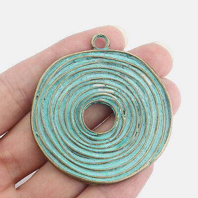 5x Verdigris Patina Large Leaf Charms Pendants Beads 70mm For Jewellery Making