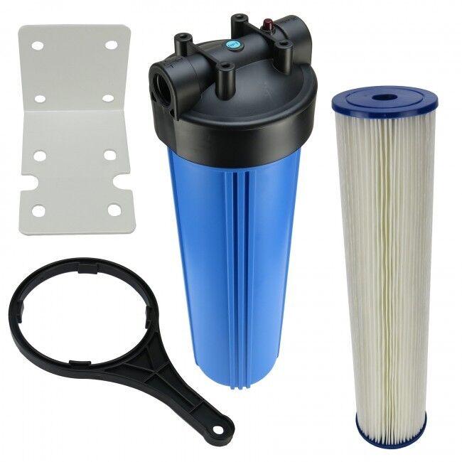 Hauswasserfilter 20 Zoll BigBlau Vorfilter Gartenfilter Brunnen + Fächerfilter
