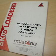 Mustang Skid Steer Loader Spare Parts Price List Manual Book Catalog List 2000