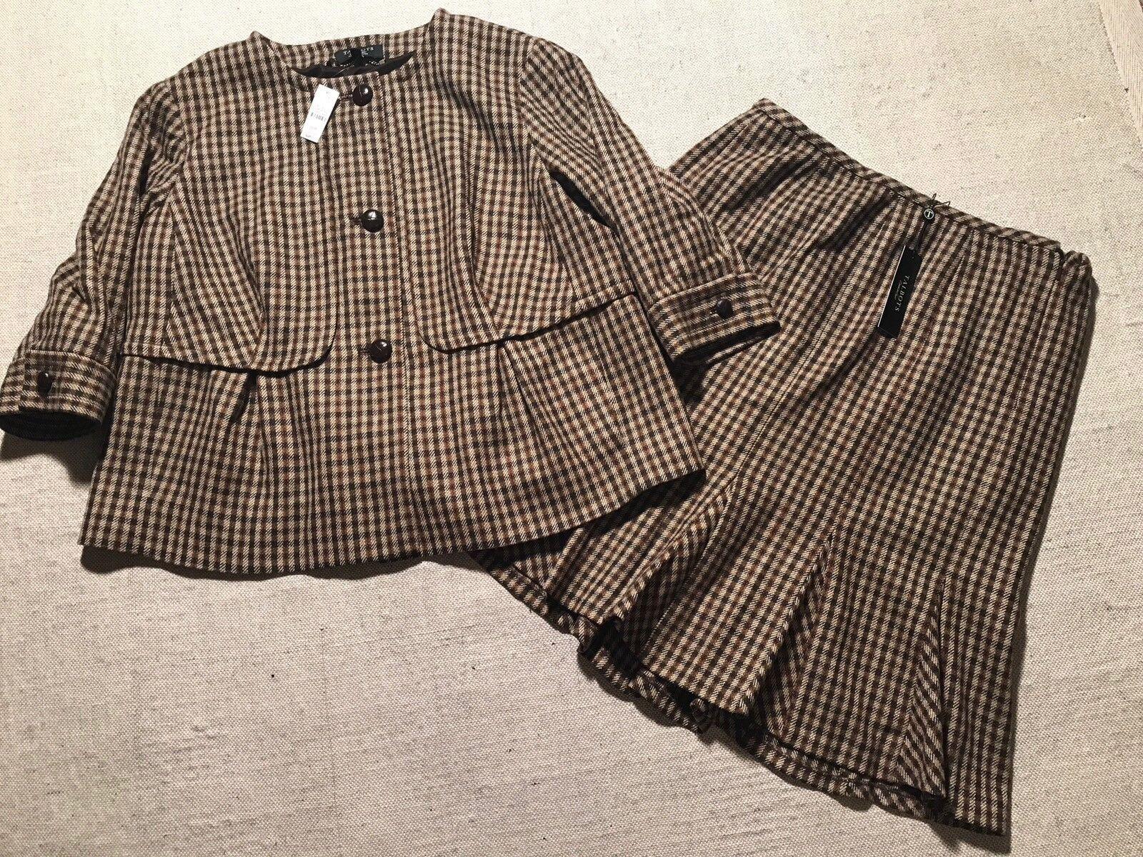 362 Talbots para Mujer Marrón comprobar falda  traje chaqueta tamaño 16WP nuevo  J6  gran venta