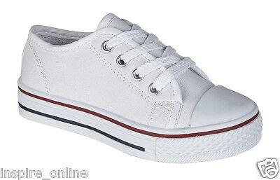 Niños Niñas Junior Niños Plana Lace Up Lona plimsolls Bombas Infantil Zapatillas Zapatos