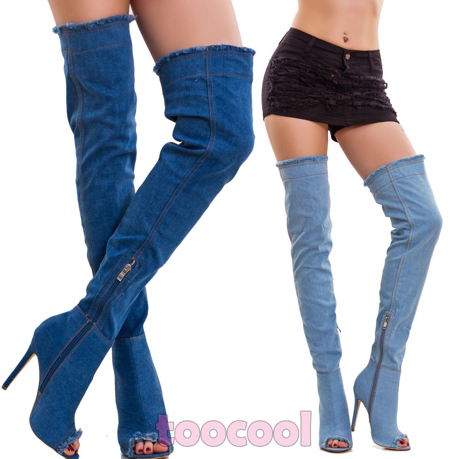 Frauenschuhe Stiefel Denim Jeans über das Knie Hoch Oben Up Neu 52326
