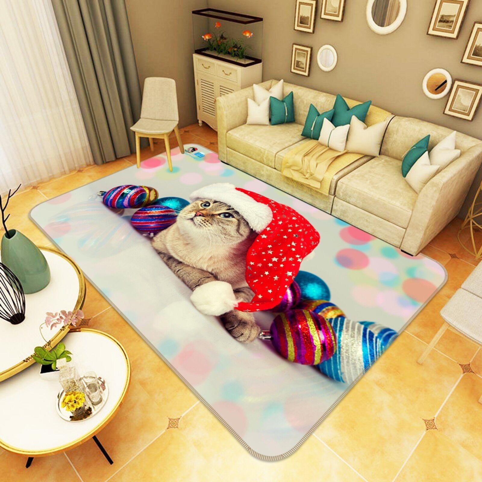 3D rosso Hat CAT 55 tappetino antiscivolo tappeto camera Tappetino Qualità Elegante foto Tappeto UK