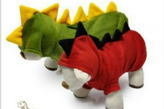 Cute Pet Dogs Puppy Cat Dinosaur Hoodie Costumes Apparel Hooded T shirt Clothes