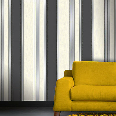 SYNERGY TEXTURED STRIPE WHITE BLACK GLITTER FEATURE DESIGNER WALLPAPER M0785