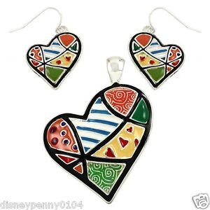 Colorful-Enamel-Patchwork-HEART-Pendant-amp-Matching-Earrings-2-034-Abstract-Pendant