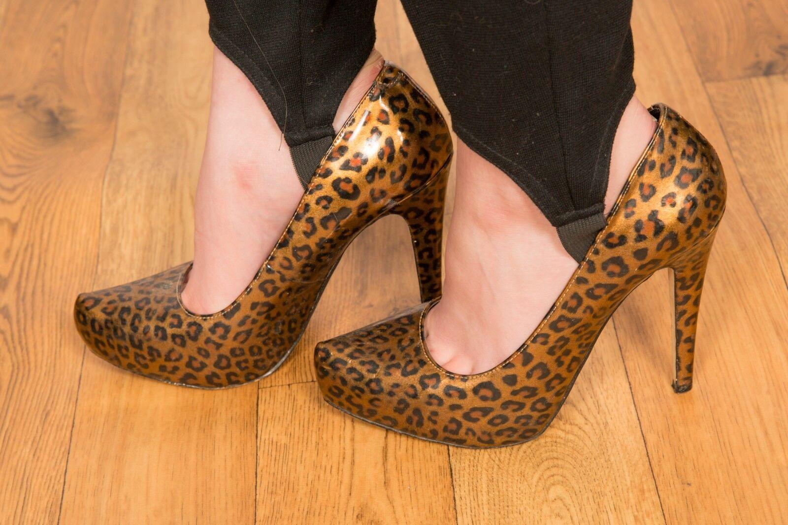 ALDO Leopardprint patent platform heels size 5