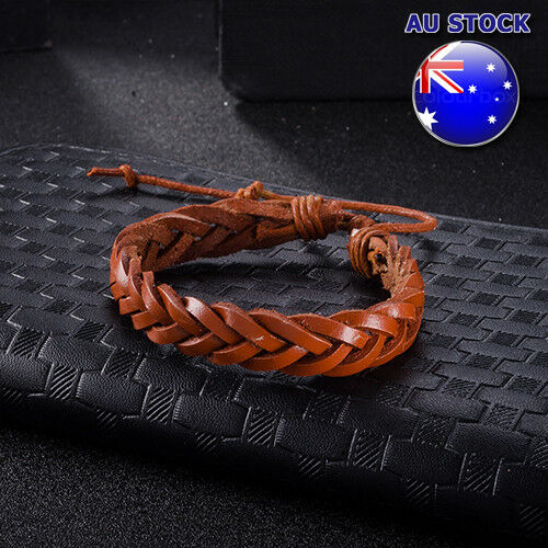 Wholesale Retro Bohemia Reddish-Brown Weave Rope Wrap Adjustable Leather Bracele