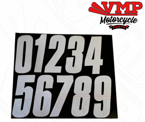 Motorcycle x1 White Racing Number 0-9 Number Board Plate Stick On Back 15cm