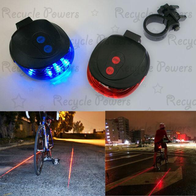 5 LED 2 Laser line Star Mountain Bicycle Bike Cycle Rear Tail Warning Lamp Light