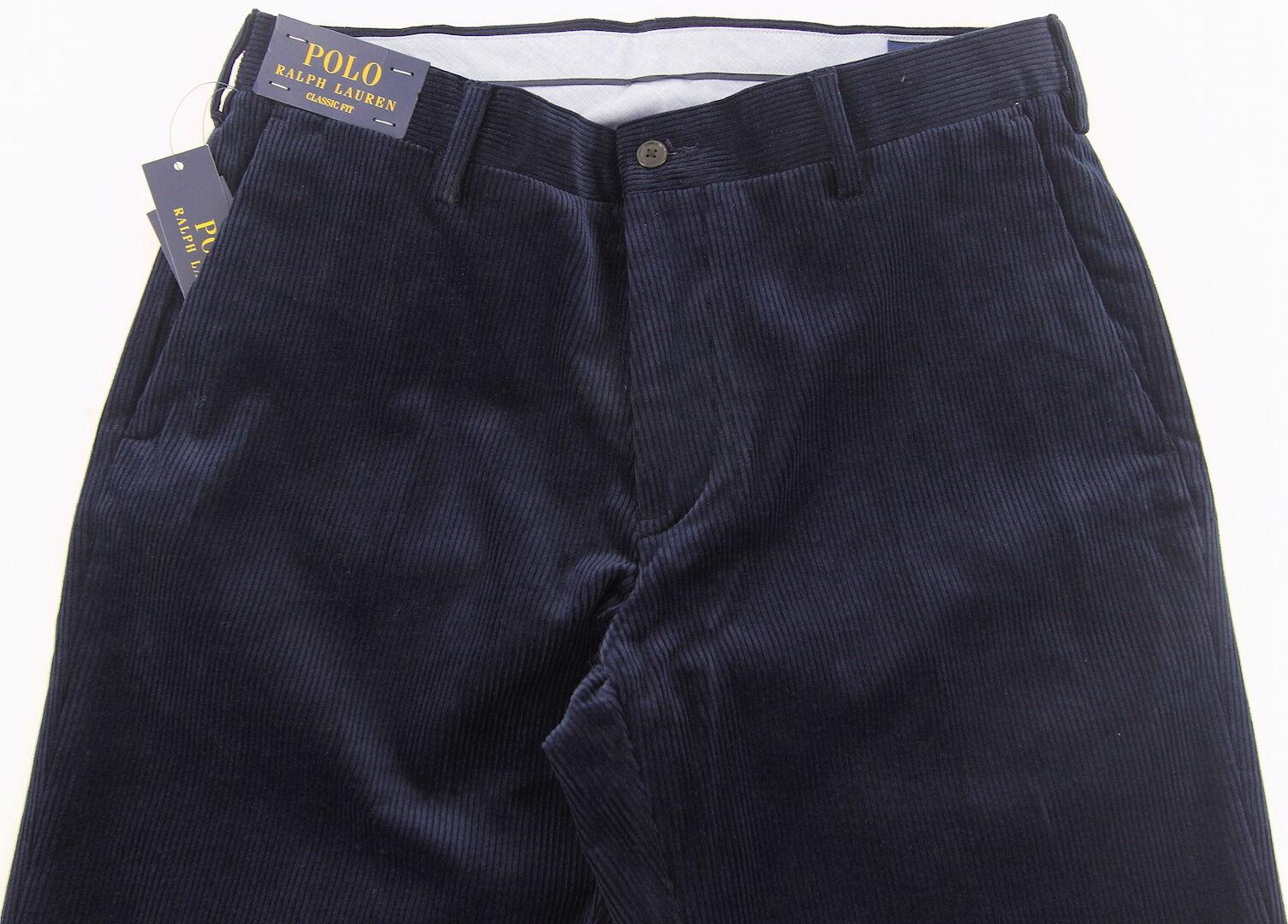 Men's POLO RALPH LAUREN Navy bluee Corduroy Pants 33x32 33 NWT NEW WOW