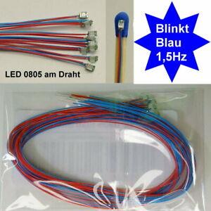 10 Stück SMD LED 0805 Blau Blinkt Blinkend Flash 1,5 Hz mit Microkabel B14/5