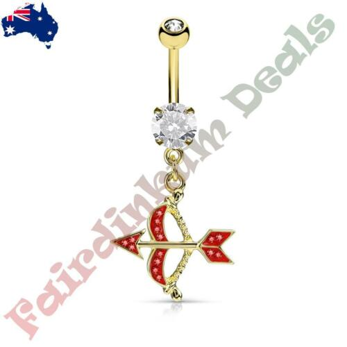 Gold Ion Plated Belly Ring with Paved Red CZ Cupids Bow /& Arrow Dangle